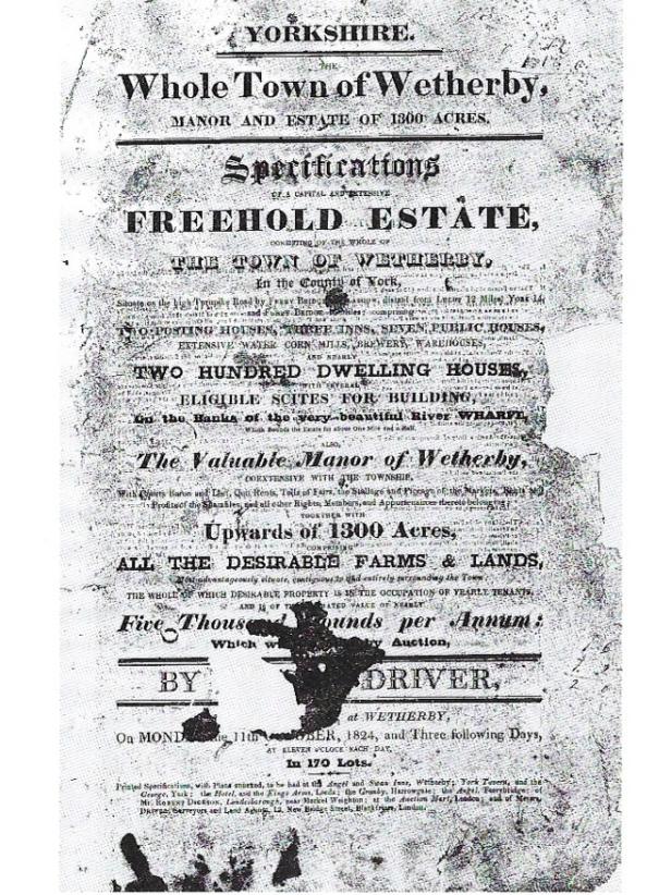 Wetherby Erste Seite Verkaufskatalog von 1824 ©Wetherby Historical Trust