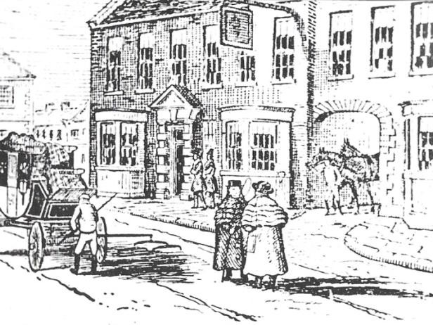 Wetherby Angel Inn Hotel alte Radierung ©Wetherby Historical Trust